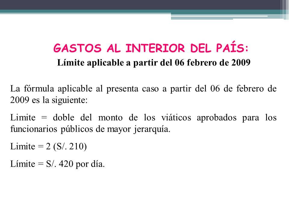 GASTOS AL INTERIOR DEL PAÍS: