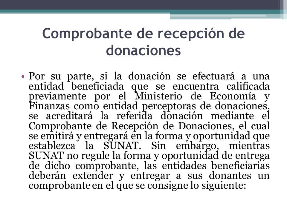 Comprobante de recepción de donaciones