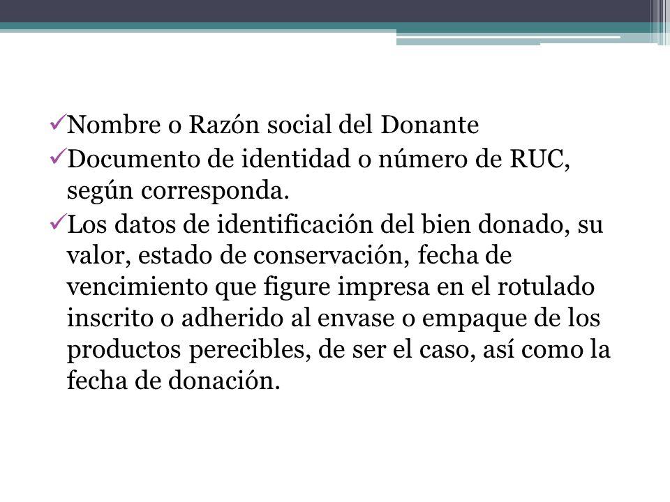 Nombre o Razón social del Donante