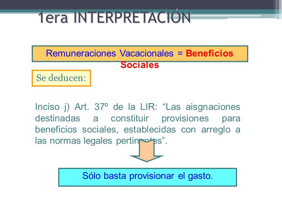 1era INTERPRETACIÓN Remuneraciones Vacacionales = Beneficios Sociales