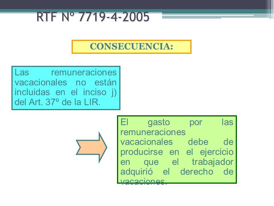 RTF Nº 7719-4-2005 CONSECUENCIA: