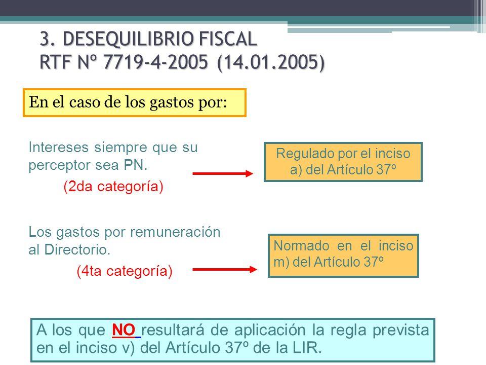 3. DESEQUILIBRIO FISCAL RTF Nº 7719-4-2005 (14.01.2005)