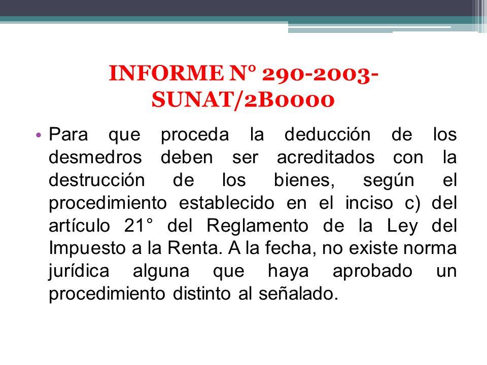 INFORME N° 290-2003-SUNAT/2B0000