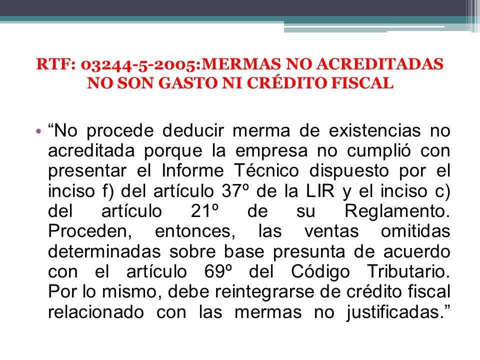 RTF: 03244-5-2005:MERMAS NO ACREDITADAS NO SON GASTO NI CRÉDITO FISCAL