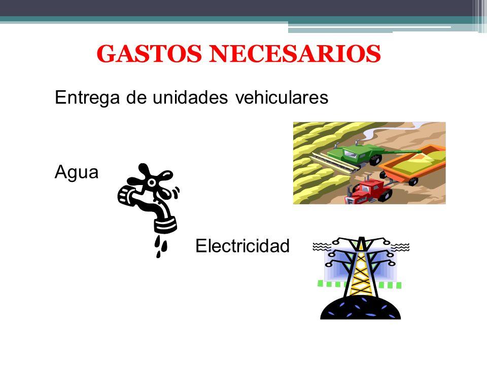 GASTOS NECESARIOS Entrega de unidades vehiculares Agua Electricidad