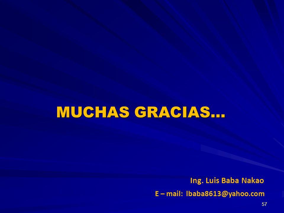 MUCHAS GRACIAS… Ing. Luis Baba Nakao E – mail: lbaba8613@yahoo.com 57