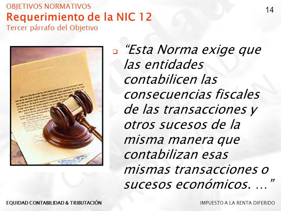 OBJETIVOS NORMATIVOS Requerimiento de la NIC 12 Tercer párrafo del Objetivo