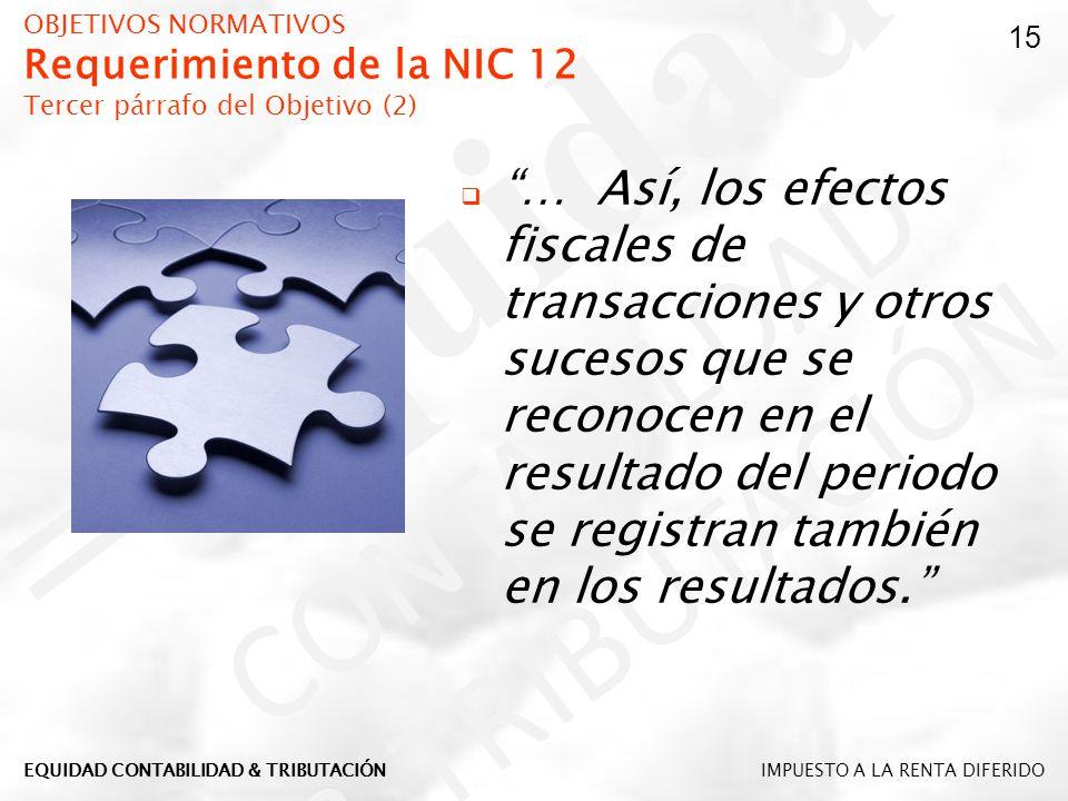 OBJETIVOS NORMATIVOS Requerimiento de la NIC 12 Tercer párrafo del Objetivo (2)