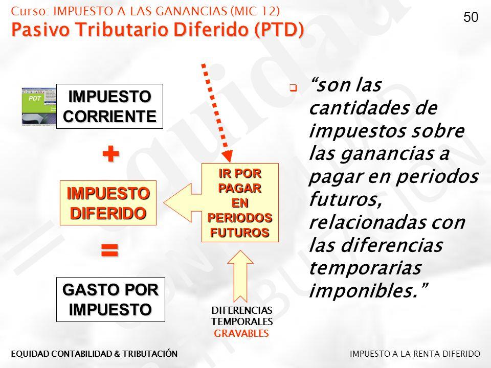 Curso: IMPUESTO A LAS GANANCIAS (MIC 12) Pasivo Tributario Diferido (PTD)