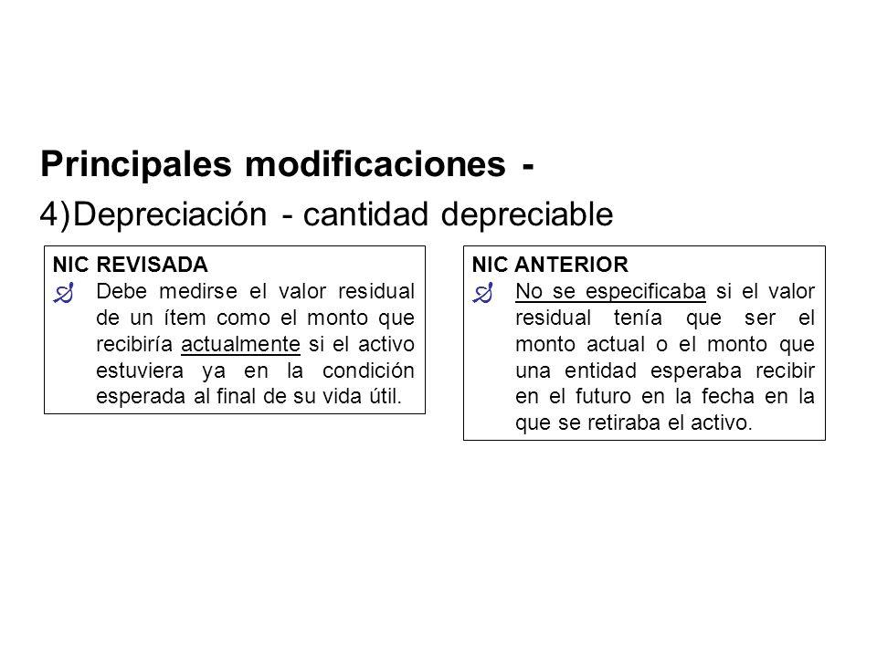 Principales modificaciones -