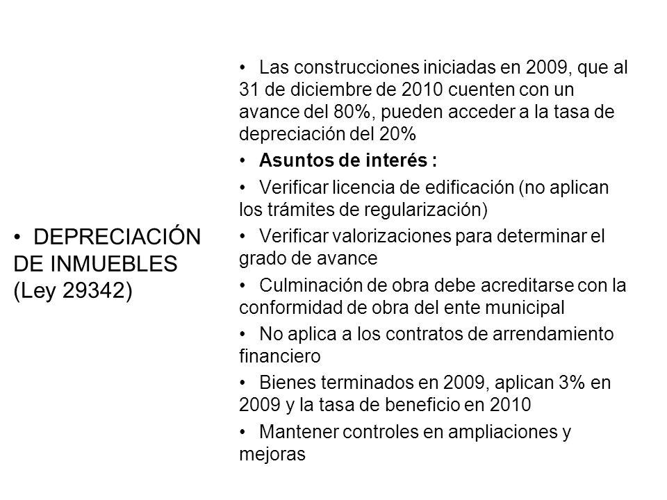 DEPRECIACIÓN DE INMUEBLES (Ley 29342)