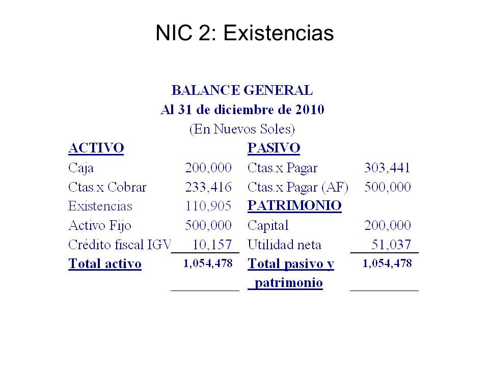 NIC 2: Existencias
