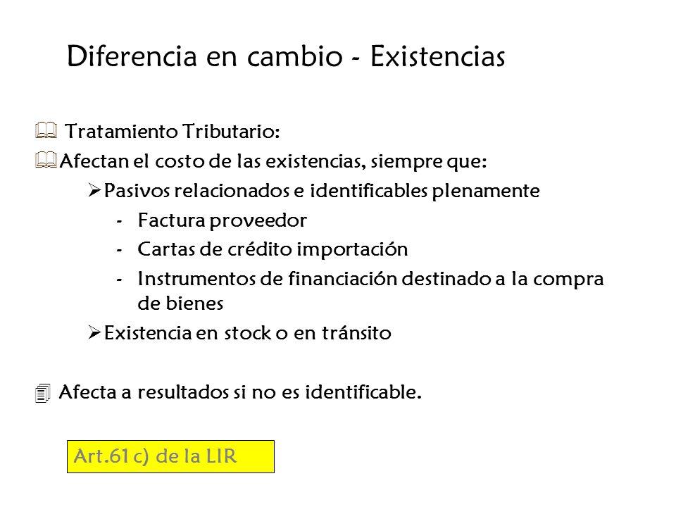 Diferencia en cambio - Existencias