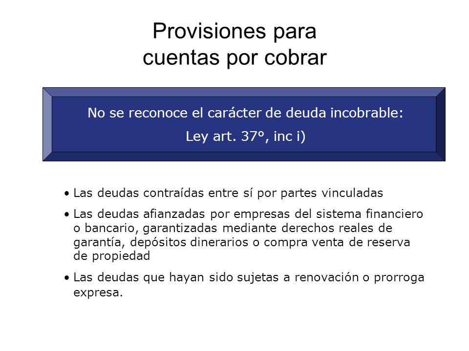 Provisiones para cuentas por cobrar