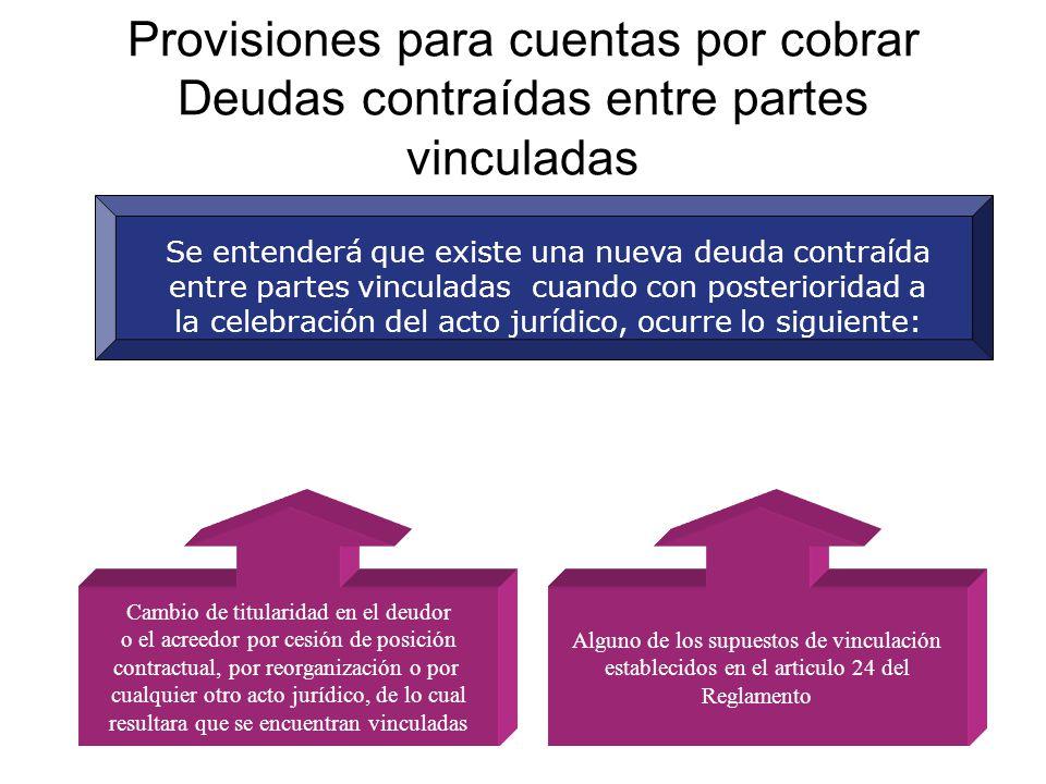 Provisiones para cuentas por cobrar Deudas contraídas entre partes vinculadas