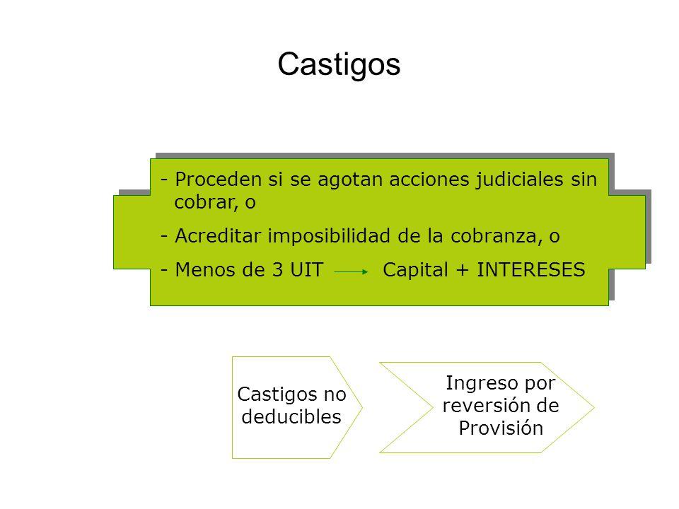 Castigos - Proceden si se agotan acciones judiciales sin cobrar, o