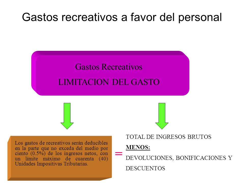 Gastos recreativos a favor del personal