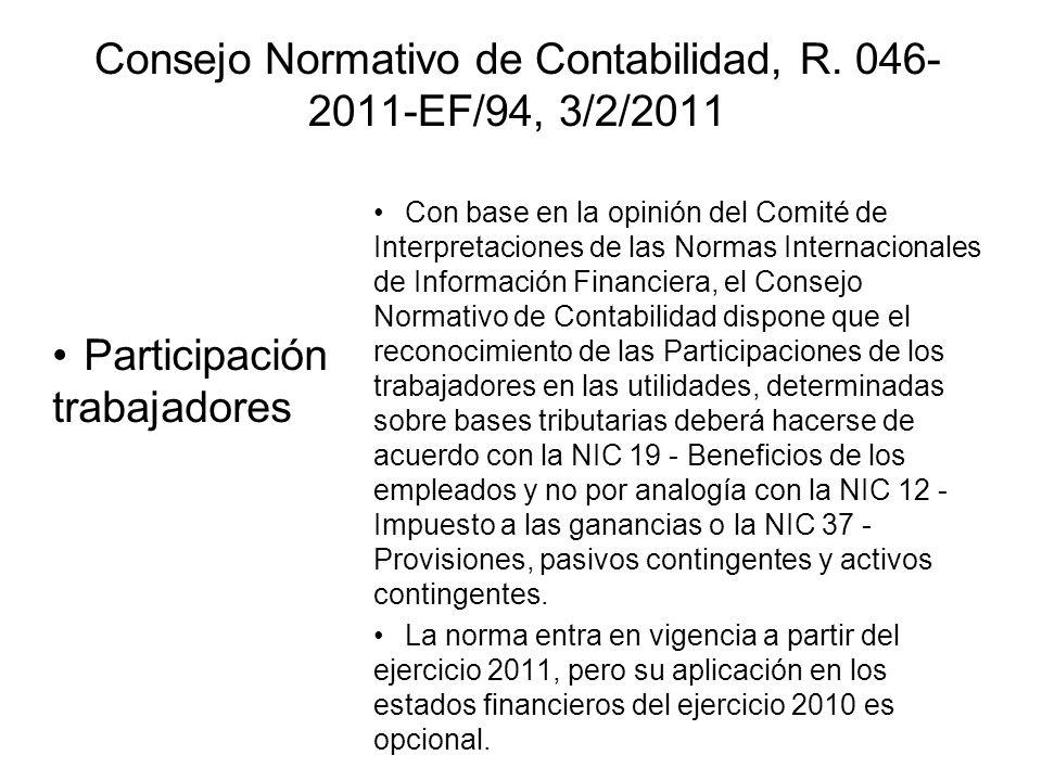 Consejo Normativo de Contabilidad, R. 046-2011-EF/94, 3/2/2011