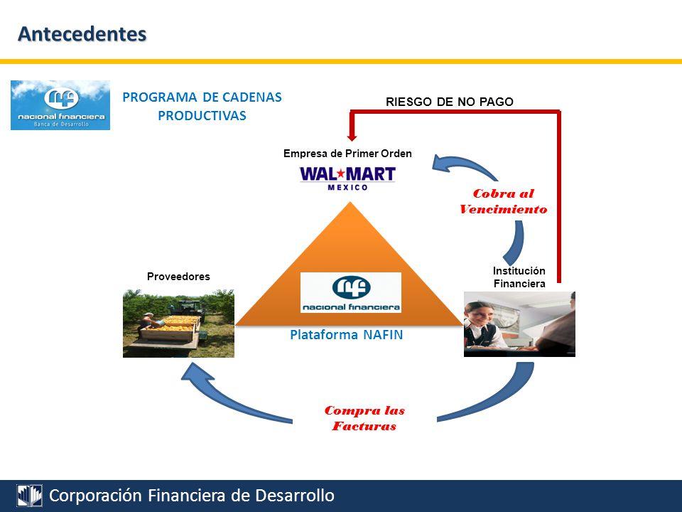 Antecedentes PROGRAMA DE CADENAS PRODUCTIVAS Plataforma NAFIN