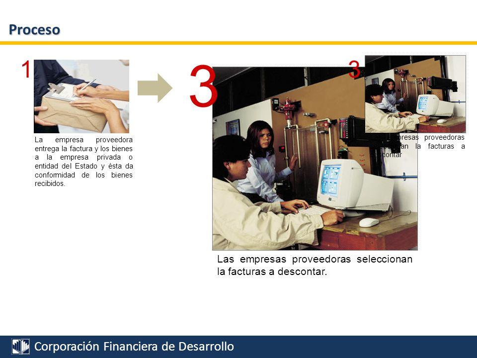 Proceso 3. Las empresas proveedoras seleccionan la facturas a descontar.