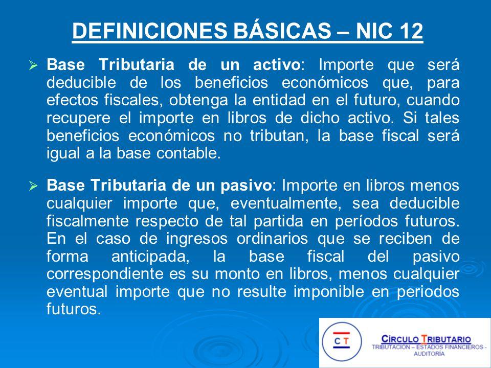 DEFINICIONES BÁSICAS – NIC 12