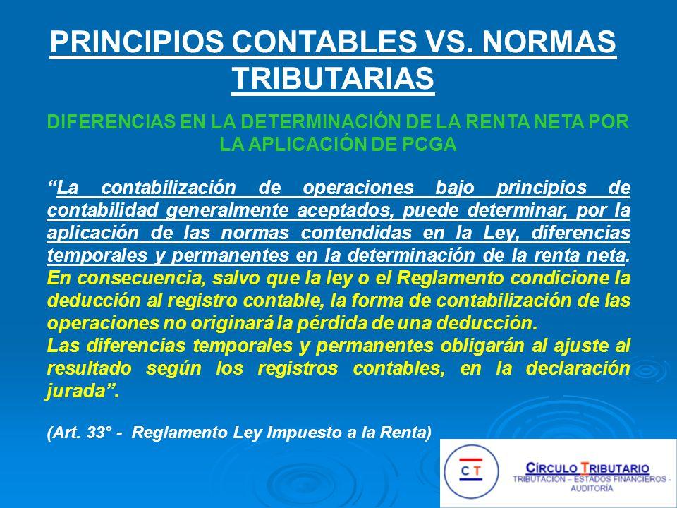 Principios Contables vs. Normas Tributarias