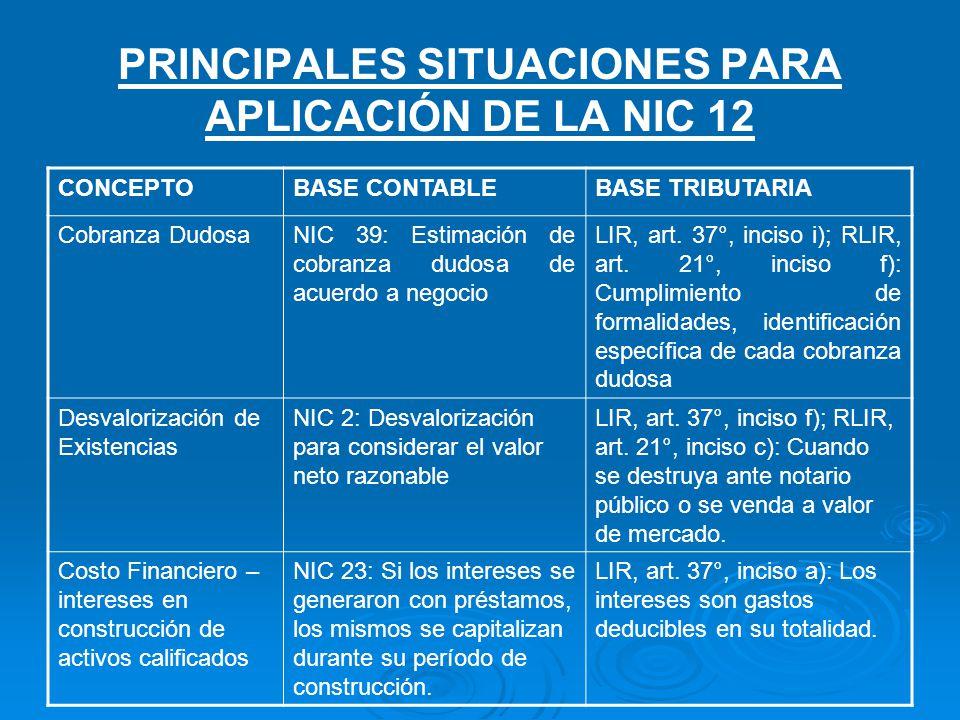 PRINCIPALES SITUACIONES PARA APLICACIÓN DE LA NIC 12