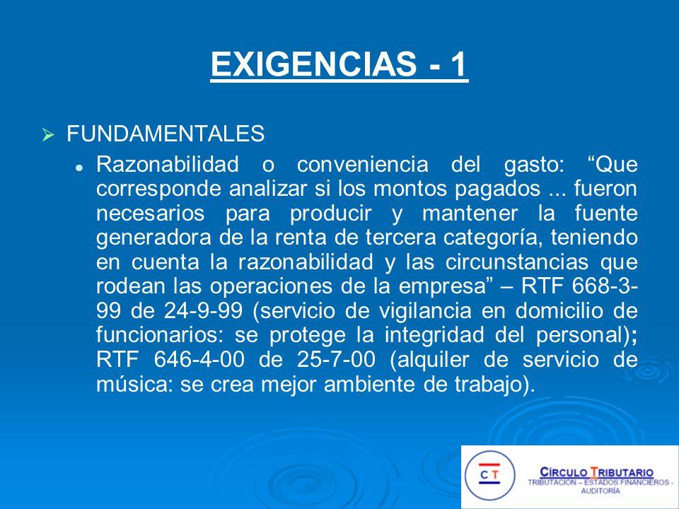 EXIGENCIAS - 1 FUNDAMENTALES
