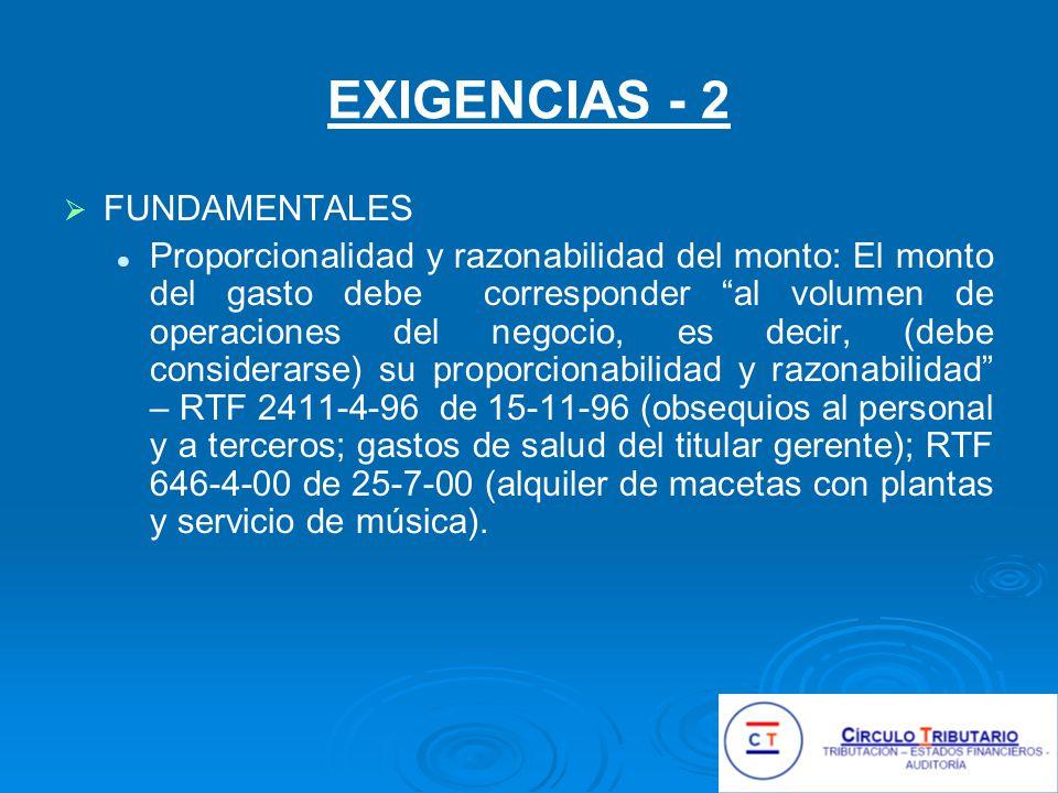 EXIGENCIAS - 2 FUNDAMENTALES