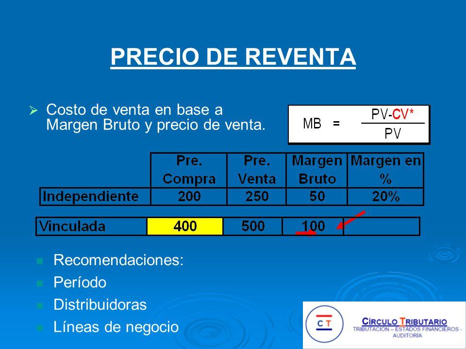 PRECIO DE REVENTA Costo de venta en base a Margen Bruto y precio de venta. Recomendaciones: Período.