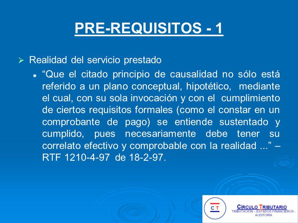 PRE-REQUISITOS - 1 Realidad del servicio prestado