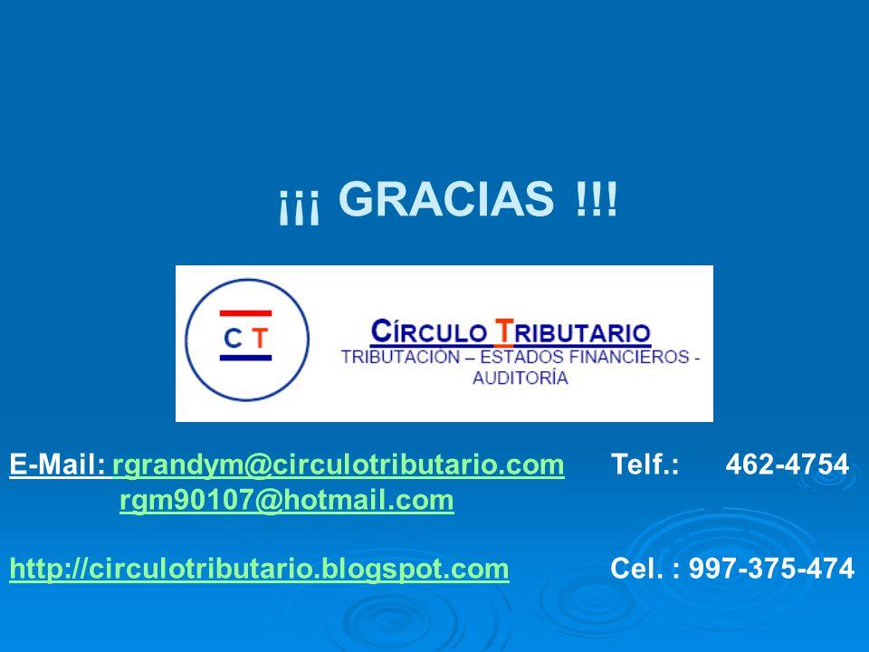 ¡¡¡ GRACIAS !!! E-Mail: rgrandym@circulotributario.com Telf.: 462-4754
