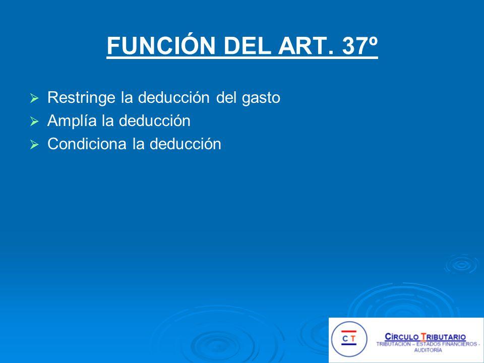 FUNCIÓN DEL ART. 37º Restringe la deducción del gasto