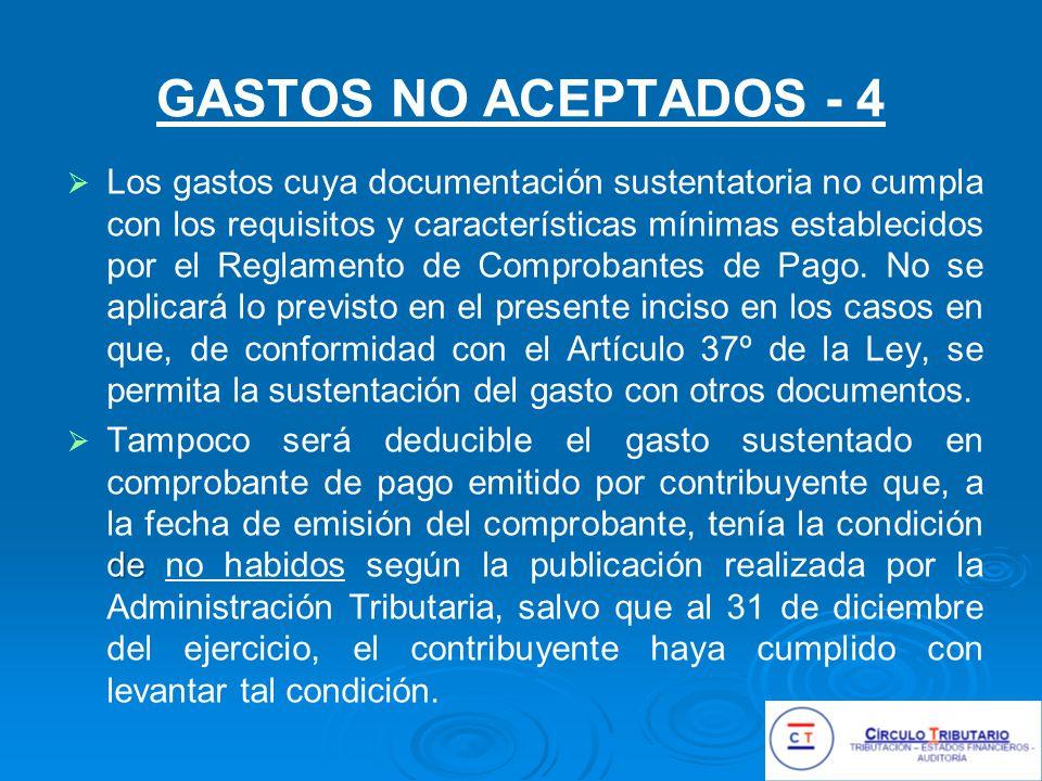 GASTOS NO ACEPTADOS - 4