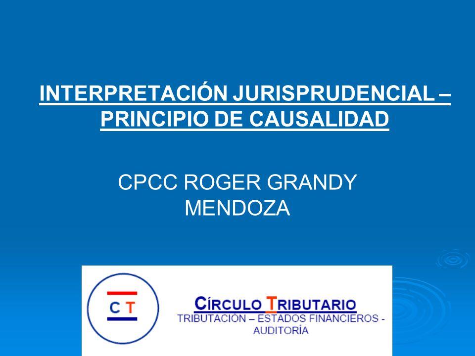 INTERPRETACIÓN JURISPRUDENCIAL – PRINCIPIO DE CAUSALIDAD