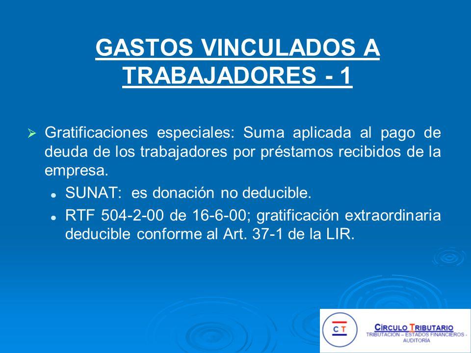 GASTOS VINCULADOS A TRABAJADORES - 1