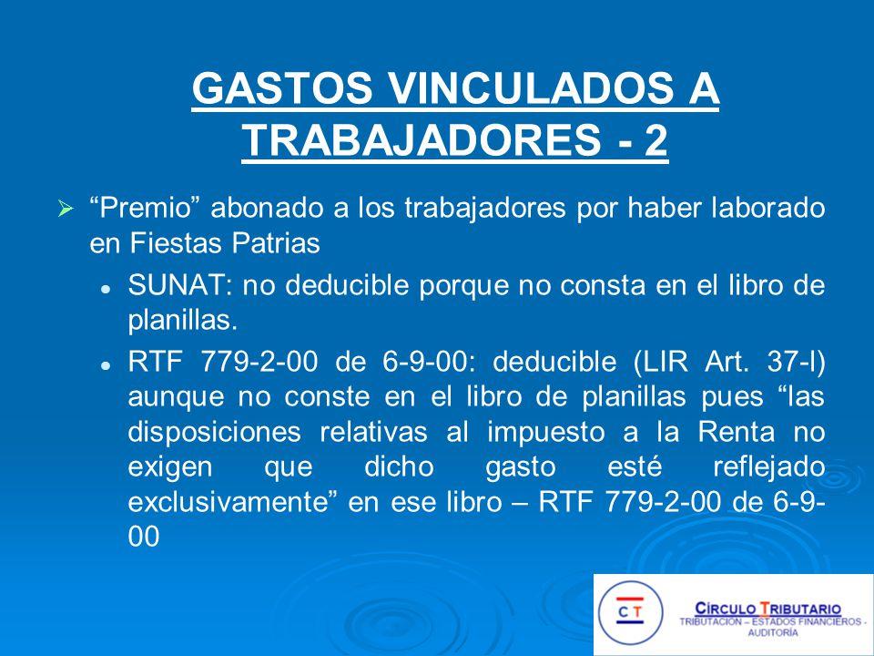 GASTOS VINCULADOS A TRABAJADORES - 2