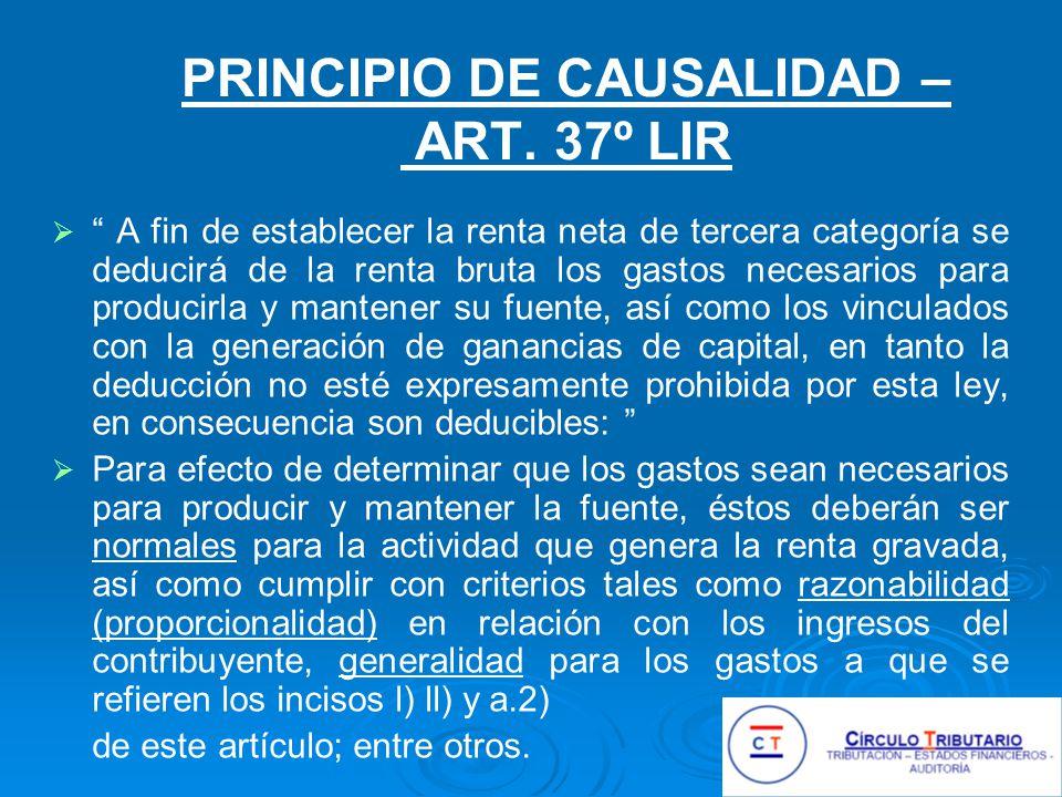 PRINCIPIO DE CAUSALIDAD – ART. 37º LIR