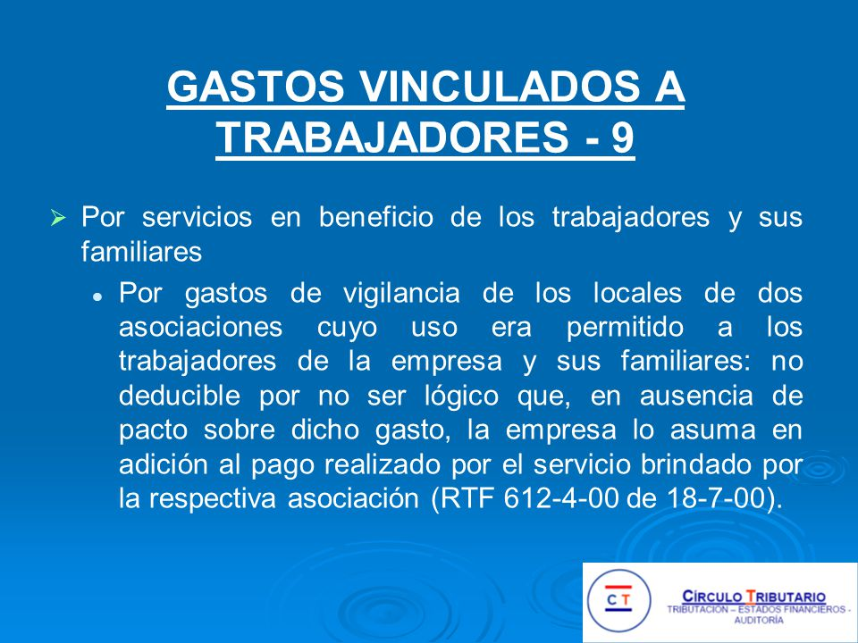 GASTOS VINCULADOS A TRABAJADORES - 9