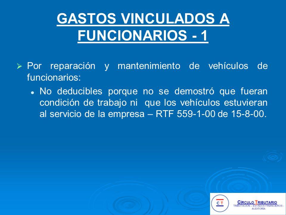 GASTOS VINCULADOS A FUNCIONARIOS - 1