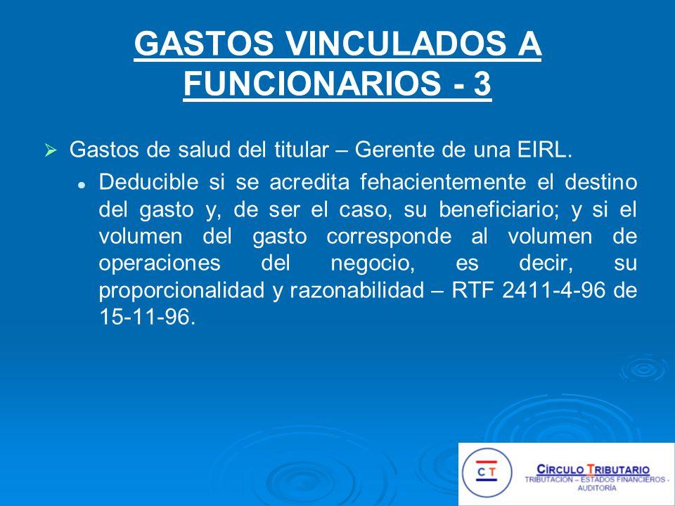 GASTOS VINCULADOS A FUNCIONARIOS - 3