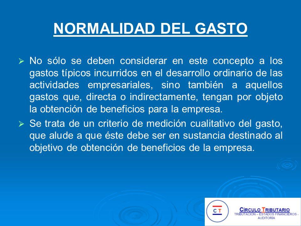 NORMALIDAD DEL GASTO
