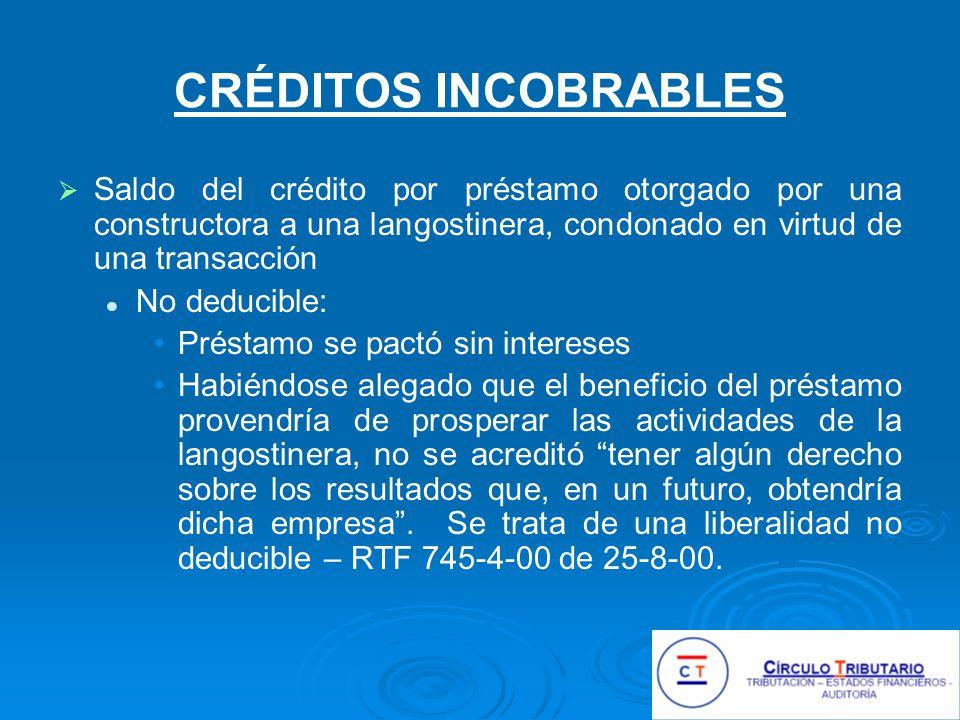 CRÉDITOS INCOBRABLES Saldo del crédito por préstamo otorgado por una constructora a una langostinera, condonado en virtud de una transacción.