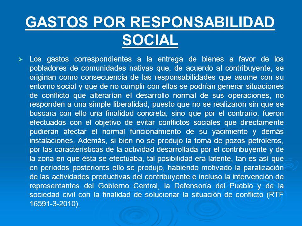 Gastos por responsabilidad social