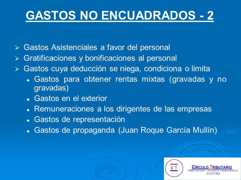 GASTOS NO ENCUADRADOS - 2