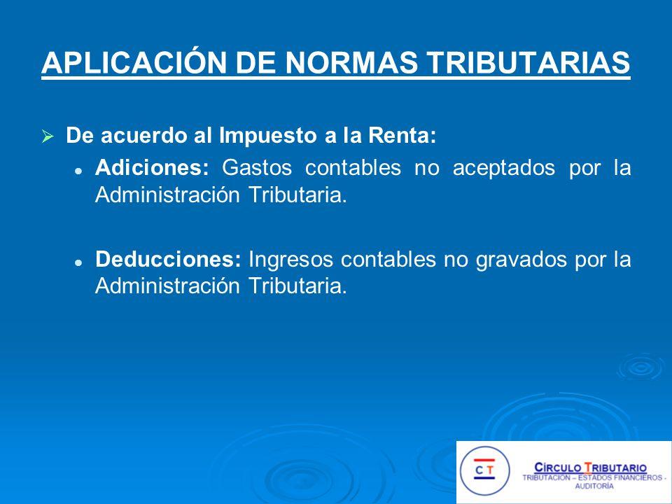 APLICACIÓN DE NORMAS TRIBUTARIAS