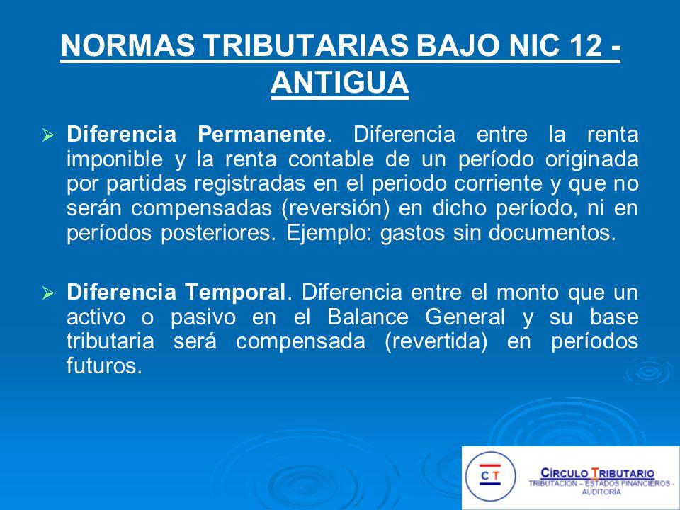 NORMAS TRIBUTARIAS BAJO NIC 12 - ANTIGUA