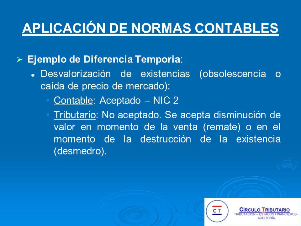 APLICACIÓN DE NORMAS CONTABLES