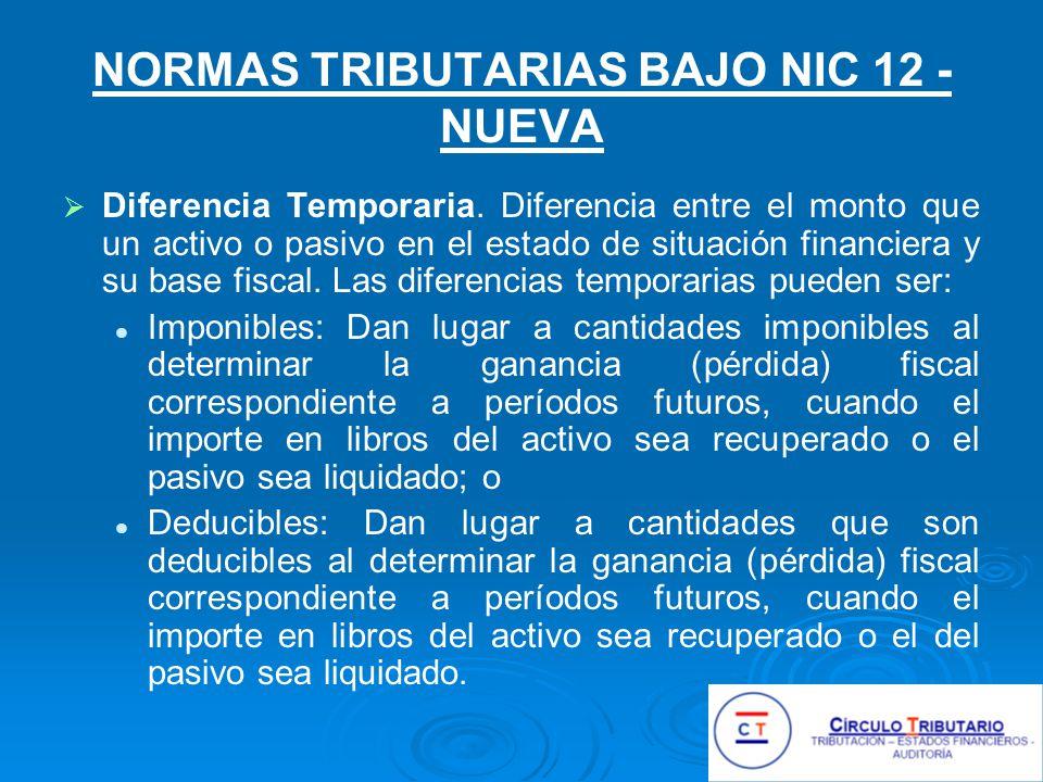NORMAS TRIBUTARIAS BAJO NIC 12 - NUEVA
