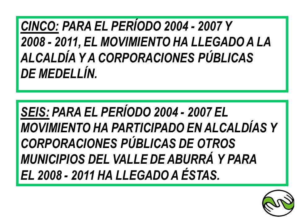 CINCO: PARA EL PERÍODO 2004 - 2007 Y